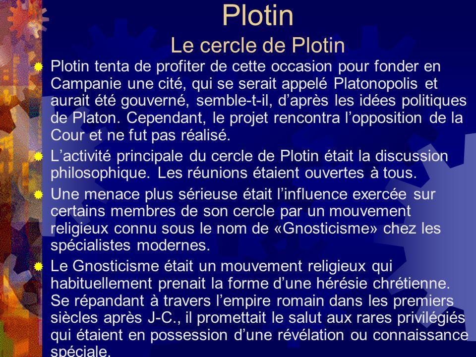 Plotin Le cercle de Plotin