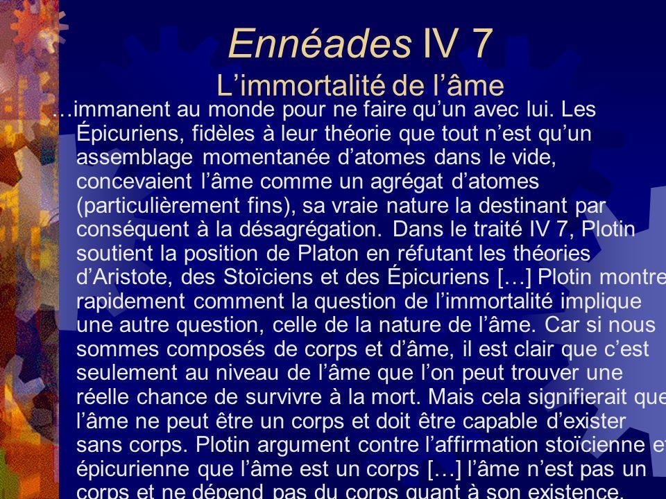 Ennéades IV 7 L'immortalité de l'âme