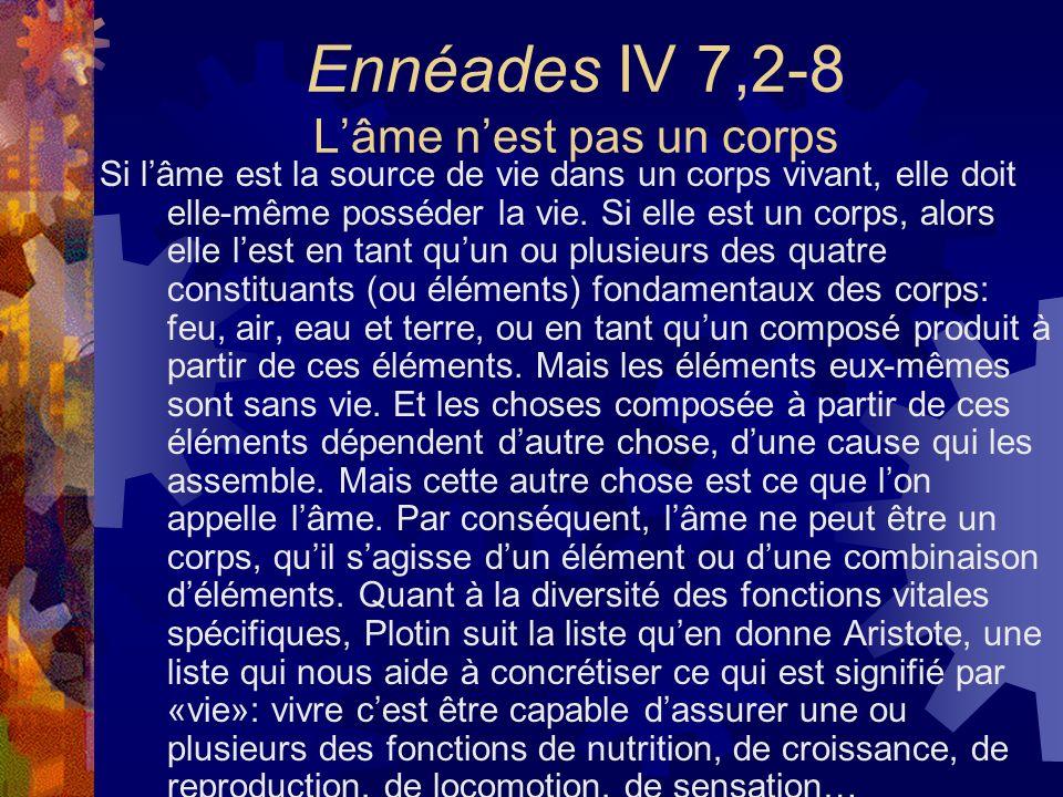 Ennéades IV 7,2-8 L'âme n'est pas un corps