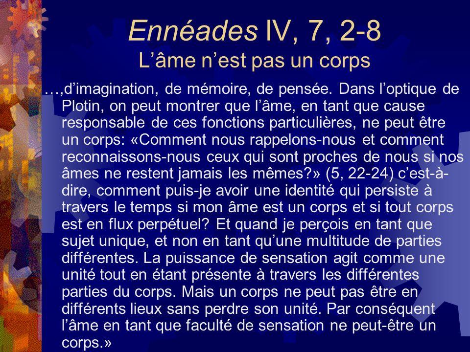 Ennéades IV, 7, 2-8 L'âme n'est pas un corps