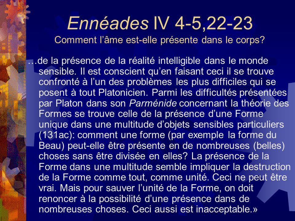 Ennéades IV 4-5,22-23 Comment l'âme est-elle présente dans le corps