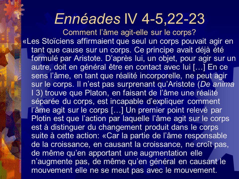 Ennéades IV 4-5,22-23 Comment l'âme agit-elle sur le corps