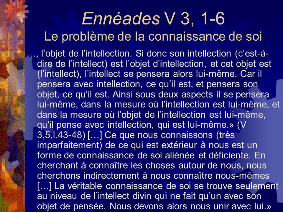 Ennéades V 3, 1-6 Le problème de la connaissance de soi