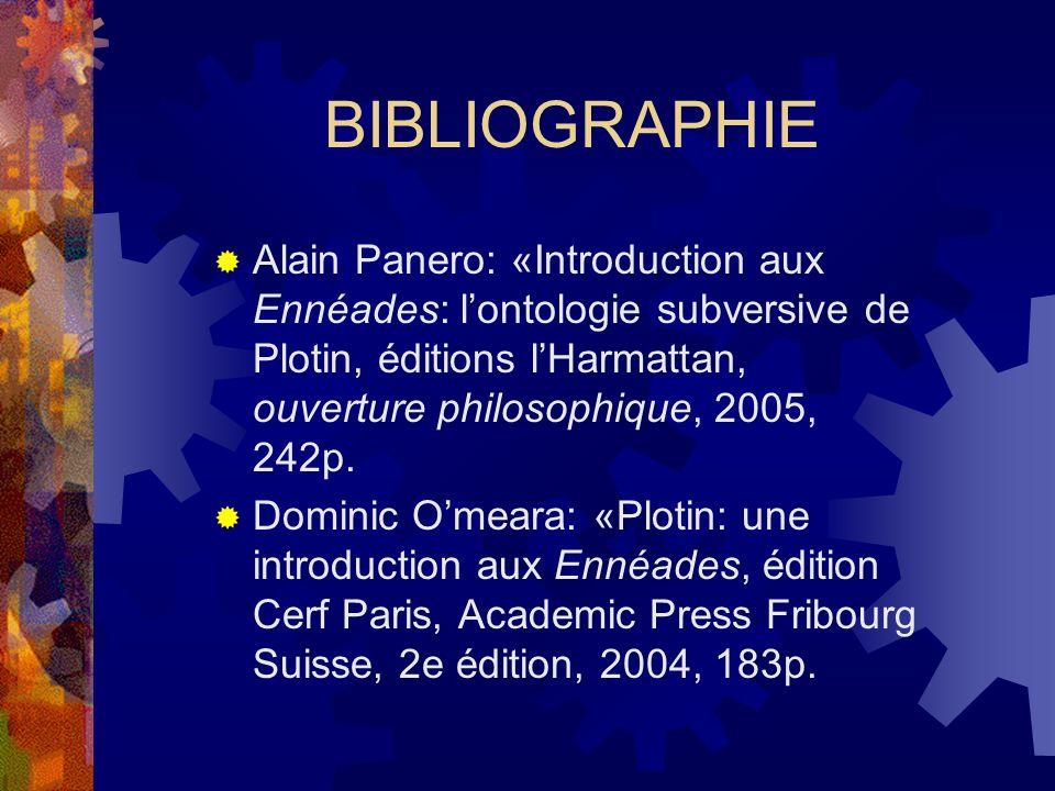 BIBLIOGRAPHIE Alain Panero: «Introduction aux Ennéades: l'ontologie subversive de Plotin, éditions l'Harmattan, ouverture philosophique, 2005, 242p.