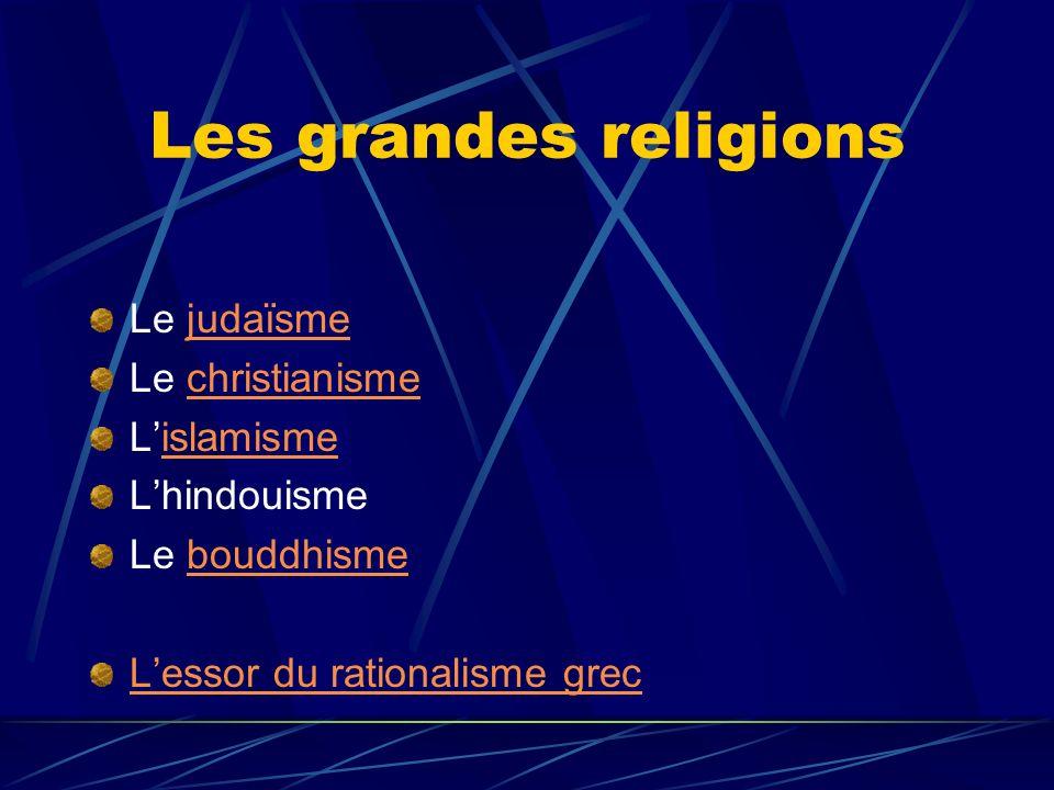 Les grandes religions Le judaïsme Le christianisme L'islamisme