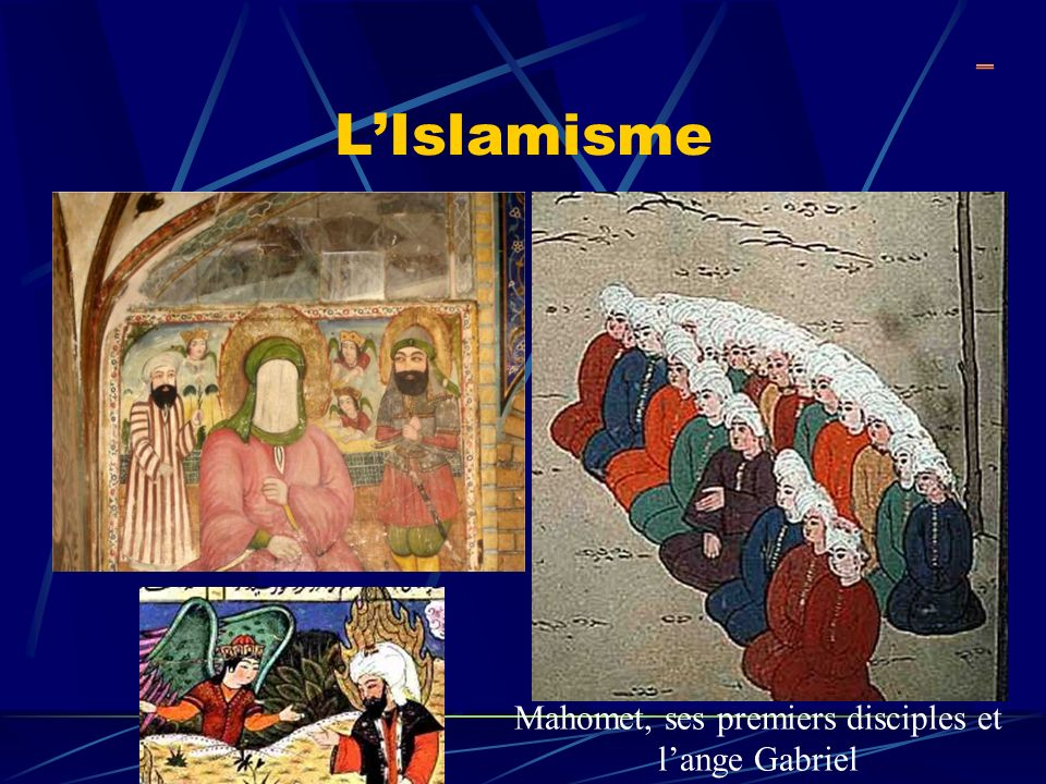 Mahomet, ses premiers disciples et l'ange Gabriel