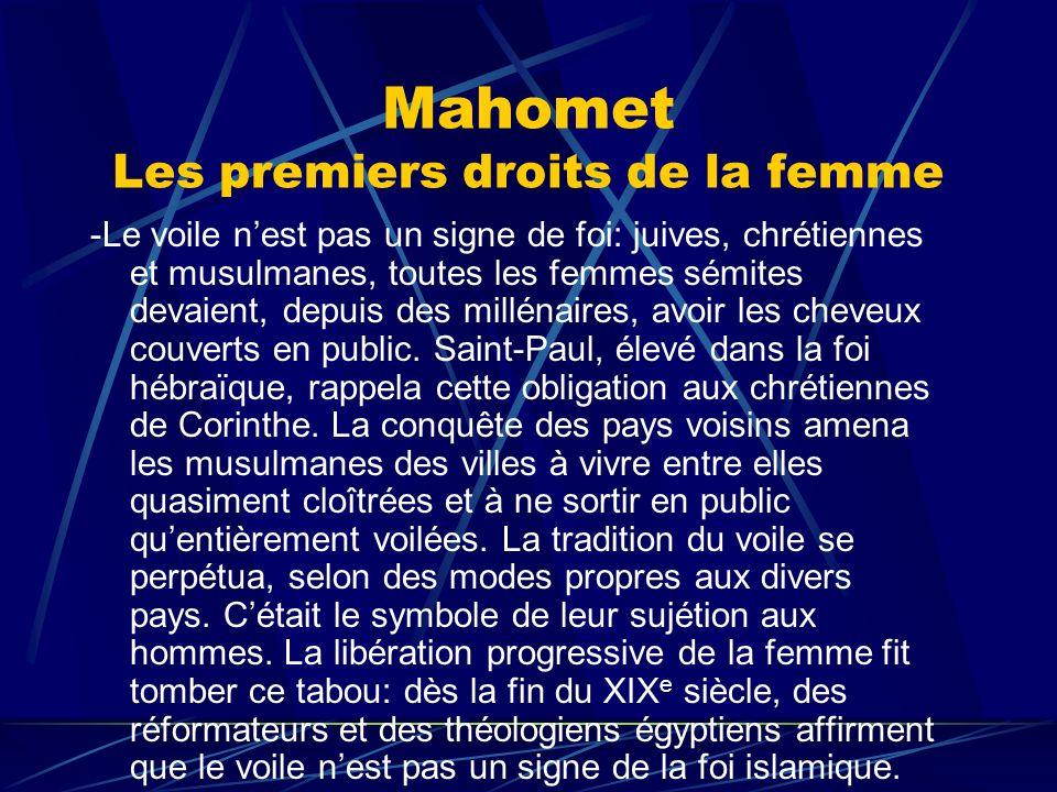 Mahomet Les premiers droits de la femme