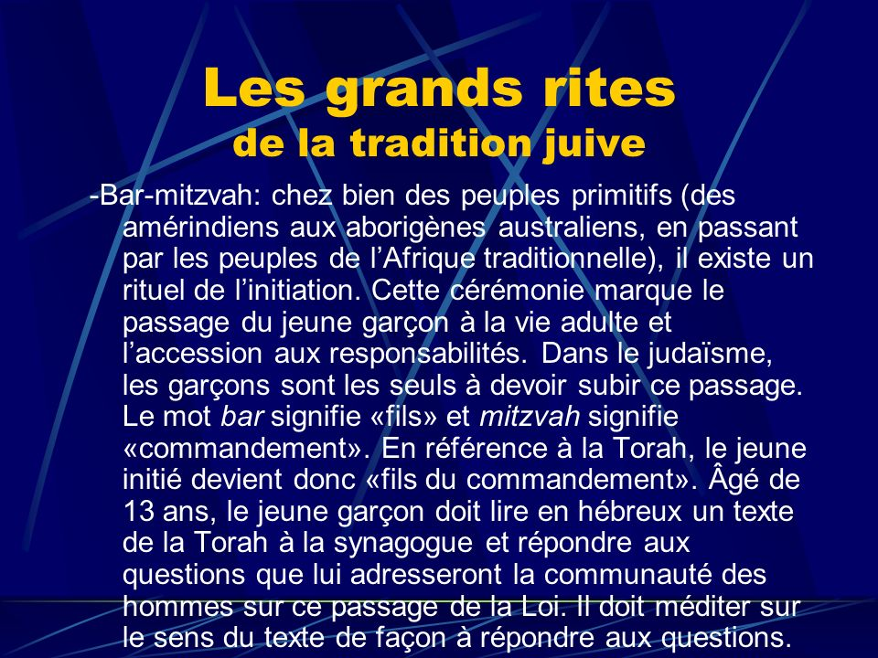 Les grands rites de la tradition juive