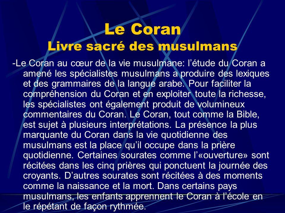 Le Coran Livre sacré des musulmans