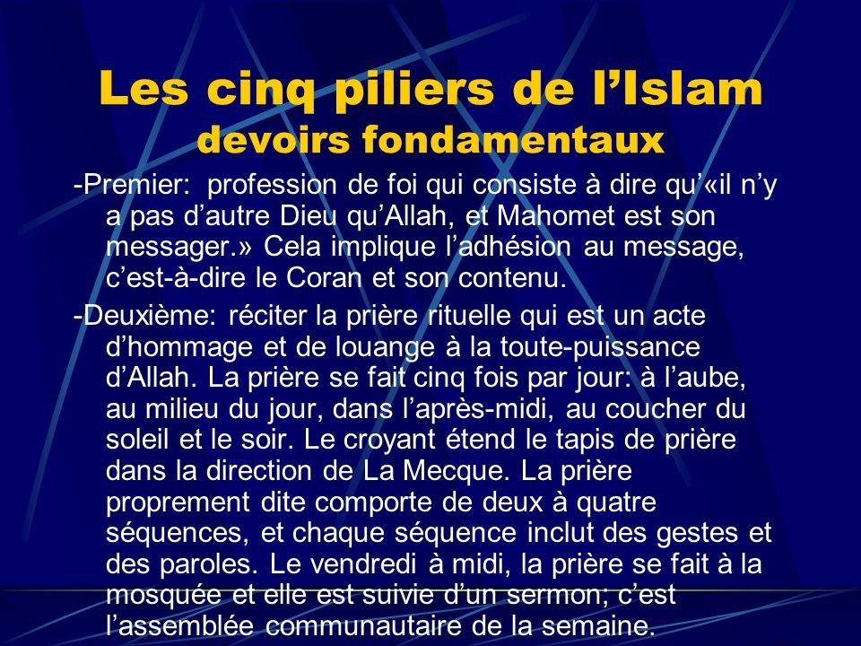 Les cinq piliers de l'Islam devoirs fondamentaux