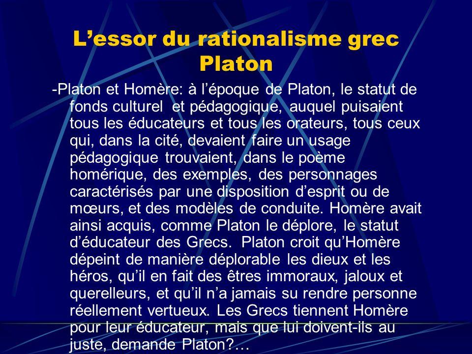 L'essor du rationalisme grec Platon