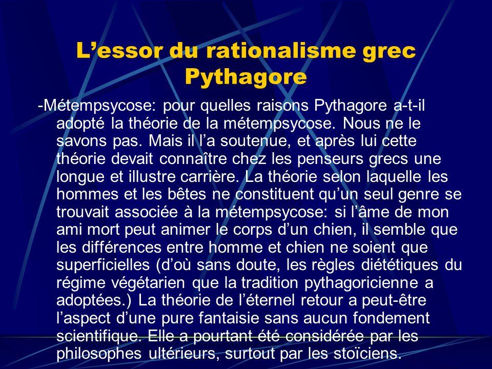L'essor du rationalisme grec Pythagore