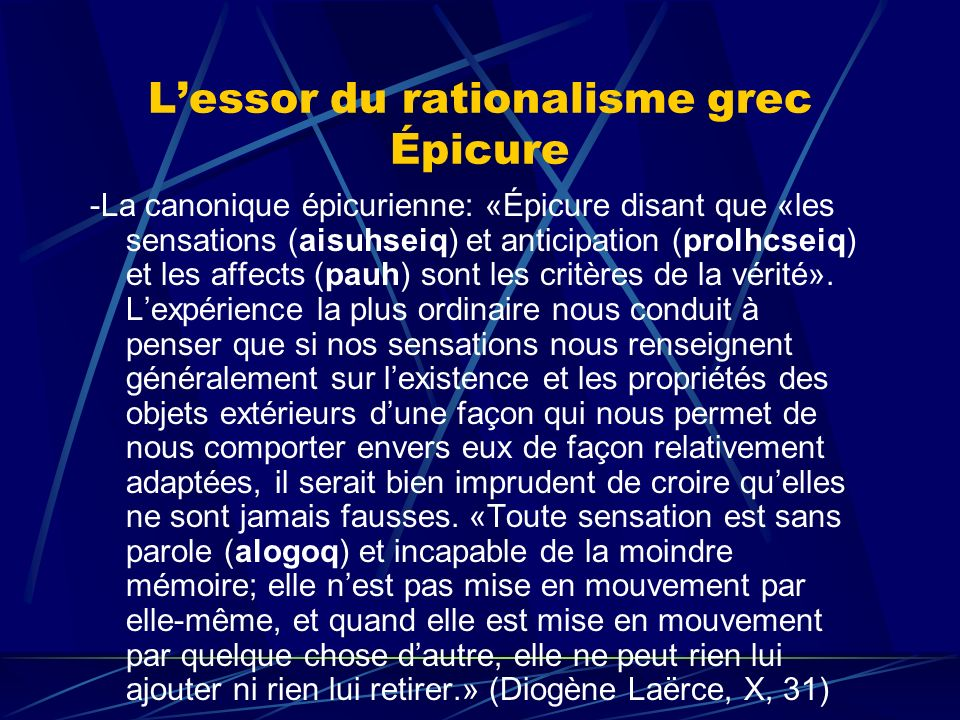 L'essor du rationalisme grec Épicure