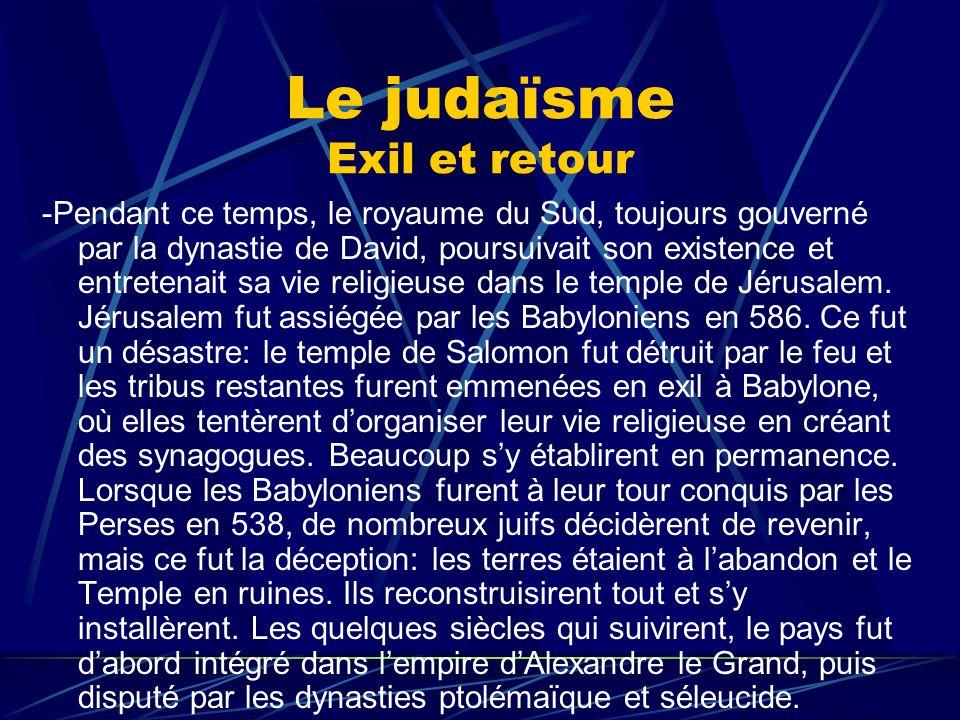 Le judaïsme Exil et retour