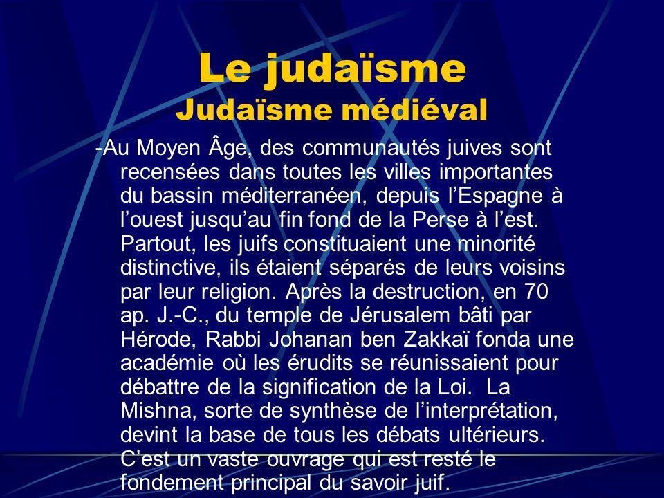 Le judaïsme Judaïsme médiéval