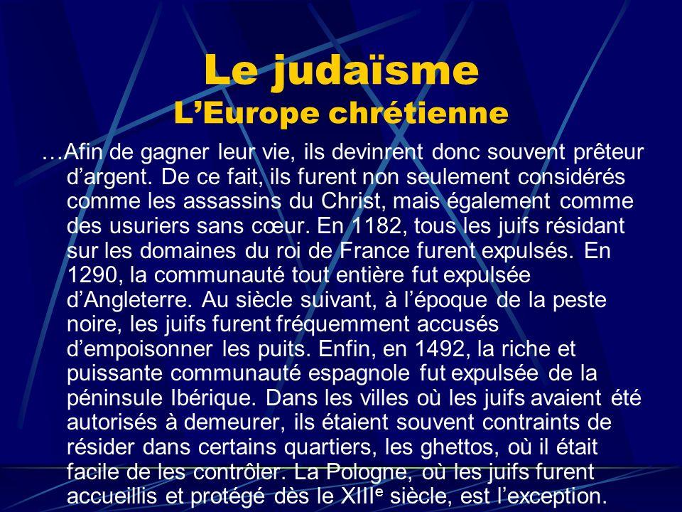 Le judaïsme L'Europe chrétienne