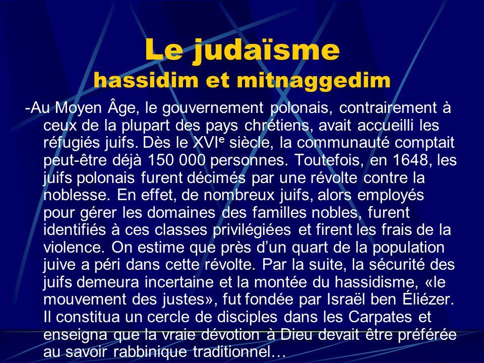 Le judaïsme hassidim et mitnaggedim