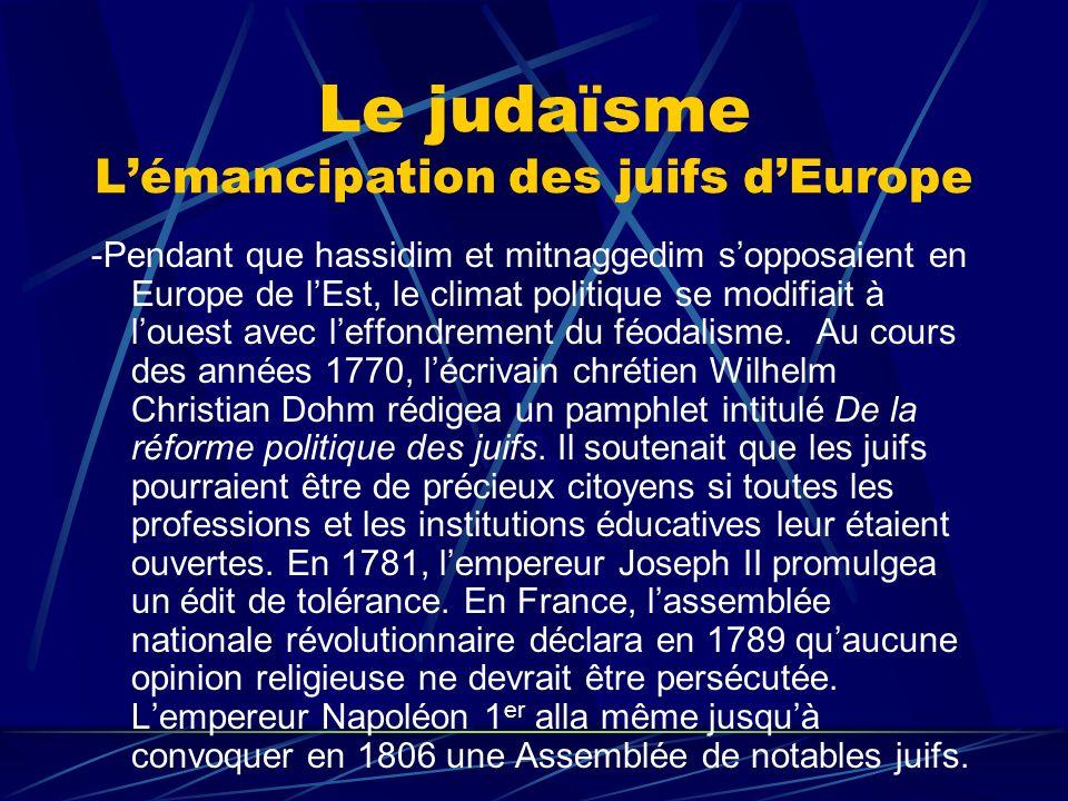 Le judaïsme L'émancipation des juifs d'Europe
