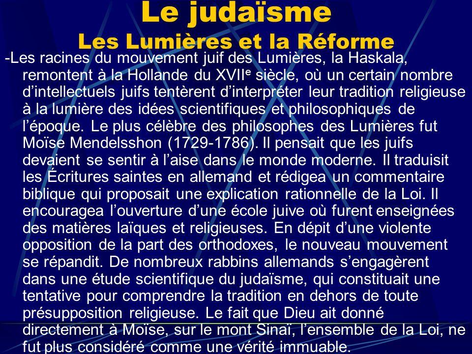 Le judaïsme Les Lumières et la Réforme
