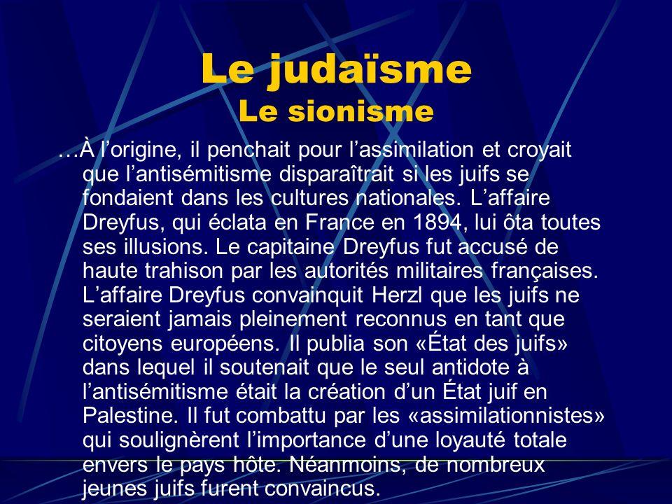 Le judaïsme Le sionisme
