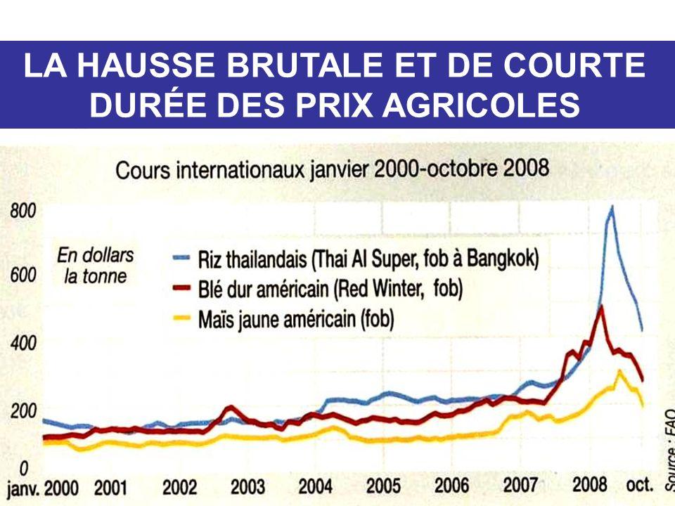 LA HAUSSE BRUTALE ET DE COURTE DURÉE DES PRIX AGRICOLES