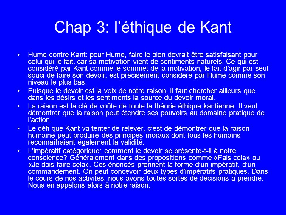 Chap 3: l'éthique de Kant