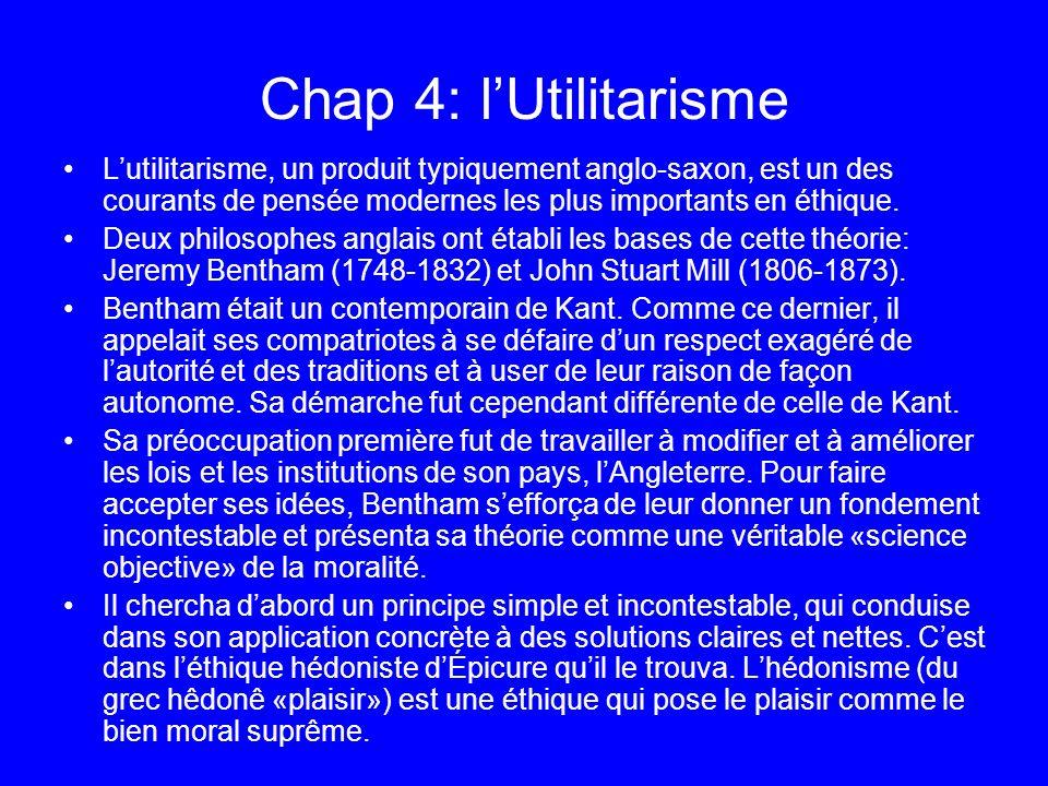 Chap 4: l'Utilitarisme L'utilitarisme, un produit typiquement anglo-saxon, est un des courants de pensée modernes les plus importants en éthique.