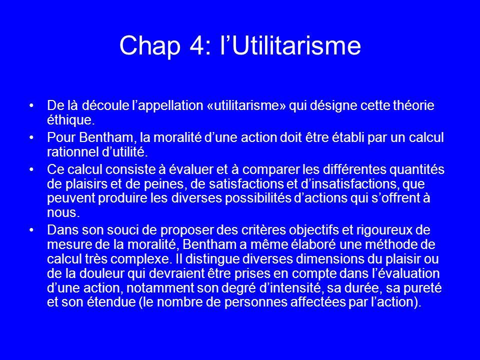 Chap 4: l'Utilitarisme De là découle l'appellation «utilitarisme» qui désigne cette théorie éthique.