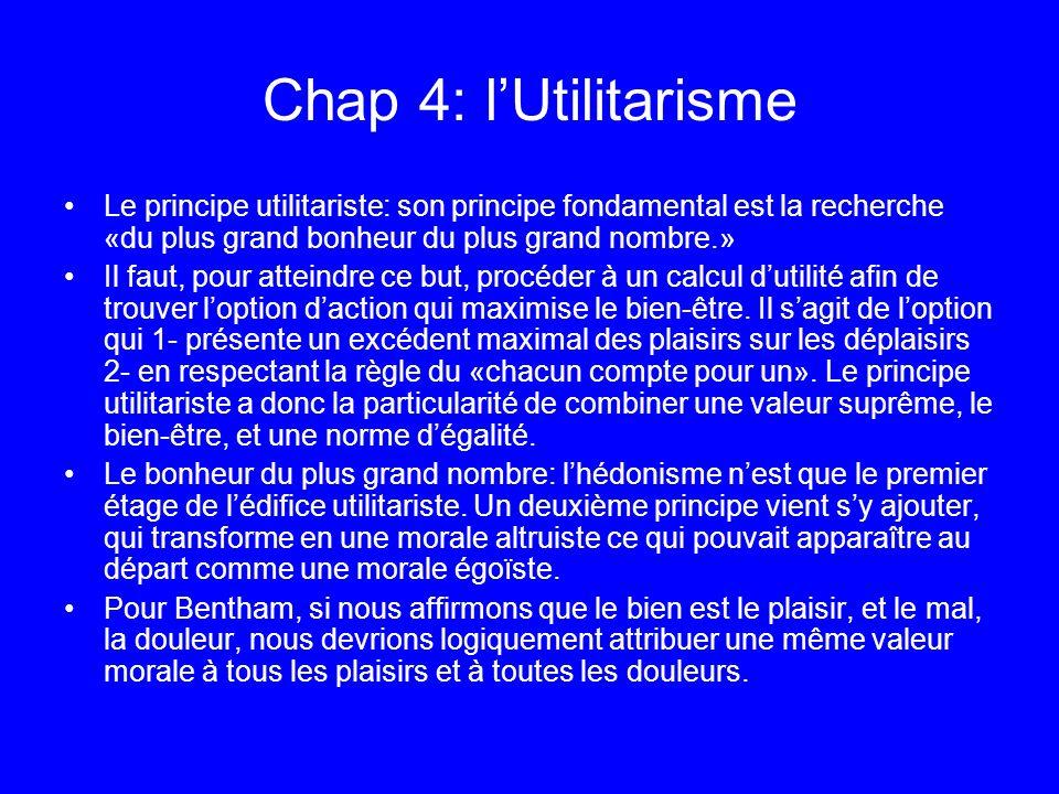 Chap 4: l'Utilitarisme Le principe utilitariste: son principe fondamental est la recherche «du plus grand bonheur du plus grand nombre.»