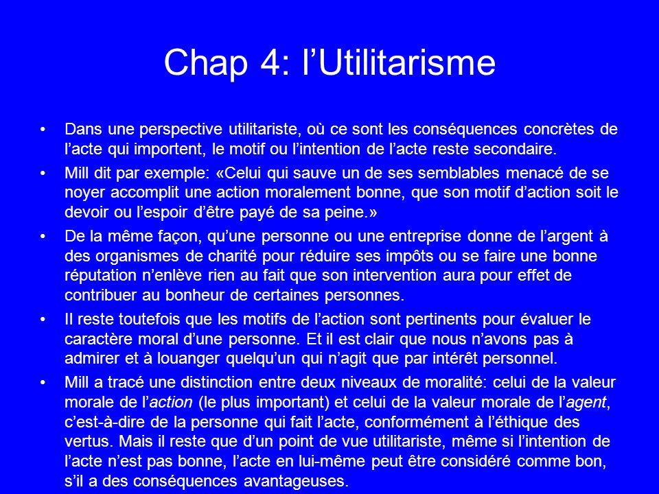 Chap 4: l'Utilitarisme