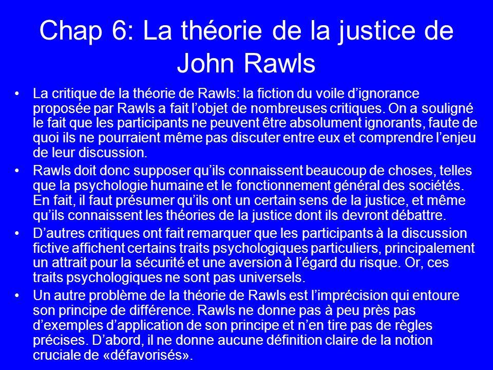 Chap 6: La théorie de la justice de John Rawls