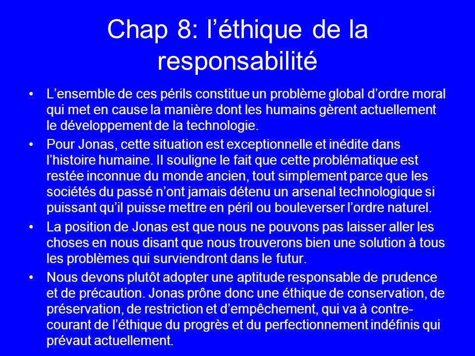 Chap 8: l'éthique de la responsabilité