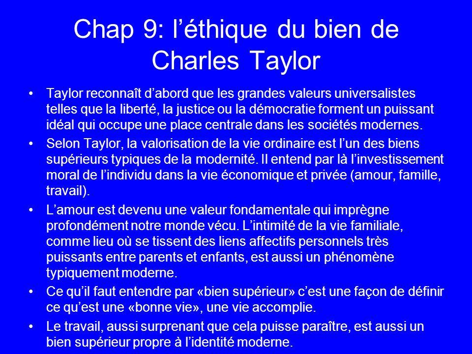 Chap 9: l'éthique du bien de Charles Taylor