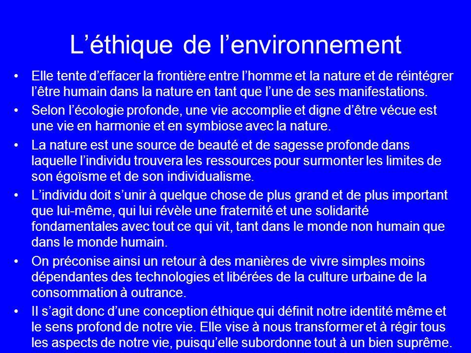 L'éthique de l'environnement