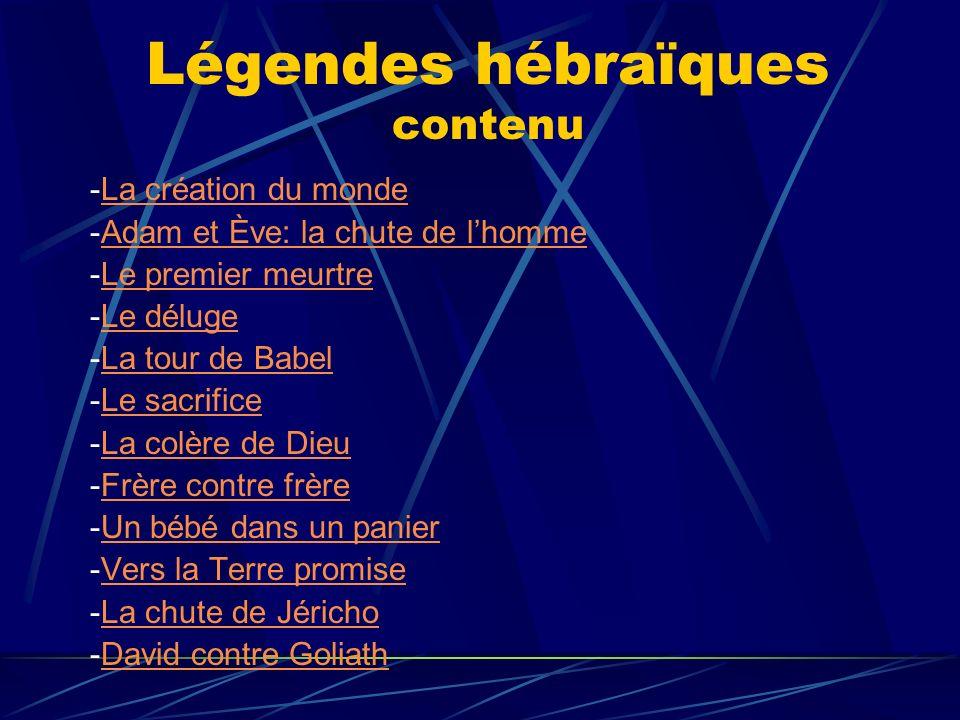 Légendes hébraïques contenu