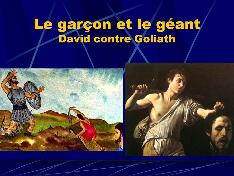 Le garçon et le géant David contre Goliath