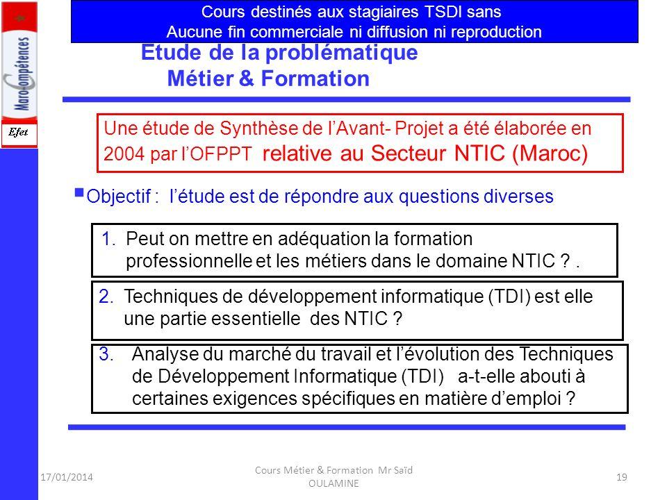 Étude de la problématique Métier & Formation