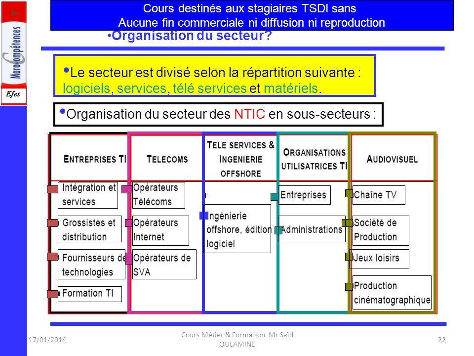 Organisation du secteur