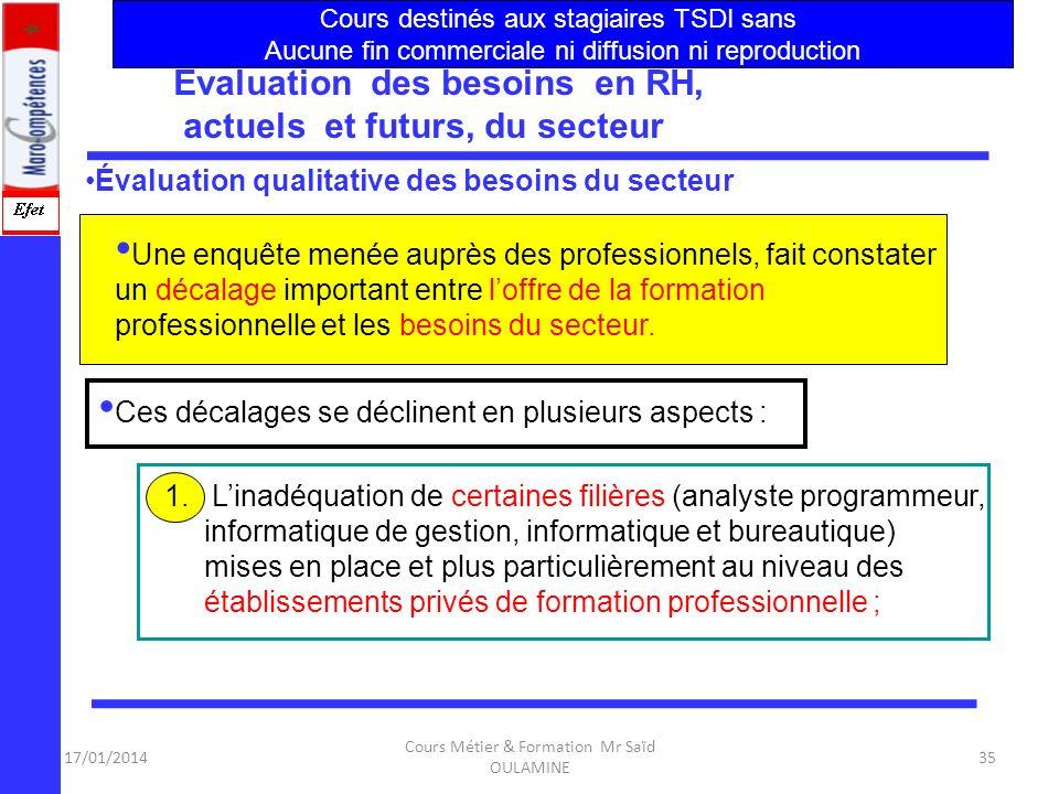 Évaluation des besoins en RH, actuels et futurs, du secteur