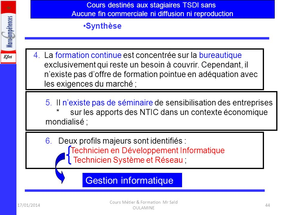 Gestion informatique Synthèse