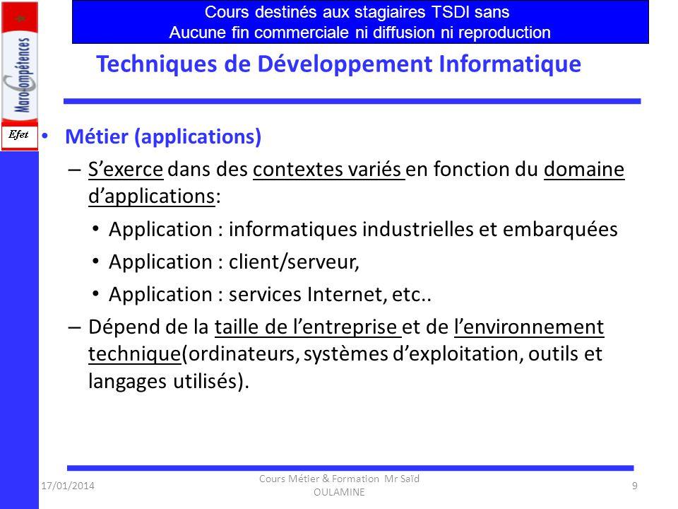 Techniques de Développement Informatique