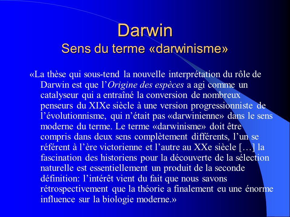 Darwin Sens du terme «darwinisme»