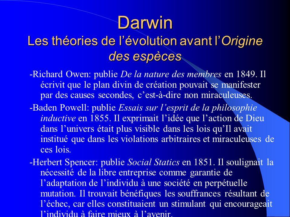 Darwin Les théories de l'évolution avant l'Origine des espèces