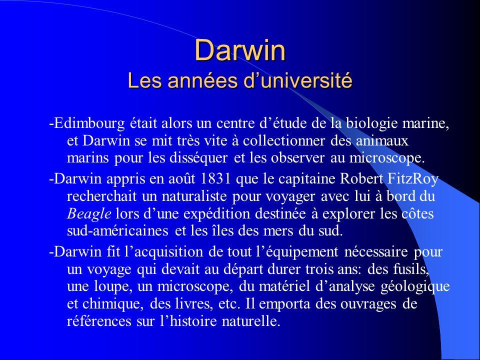 Darwin Les années d'université