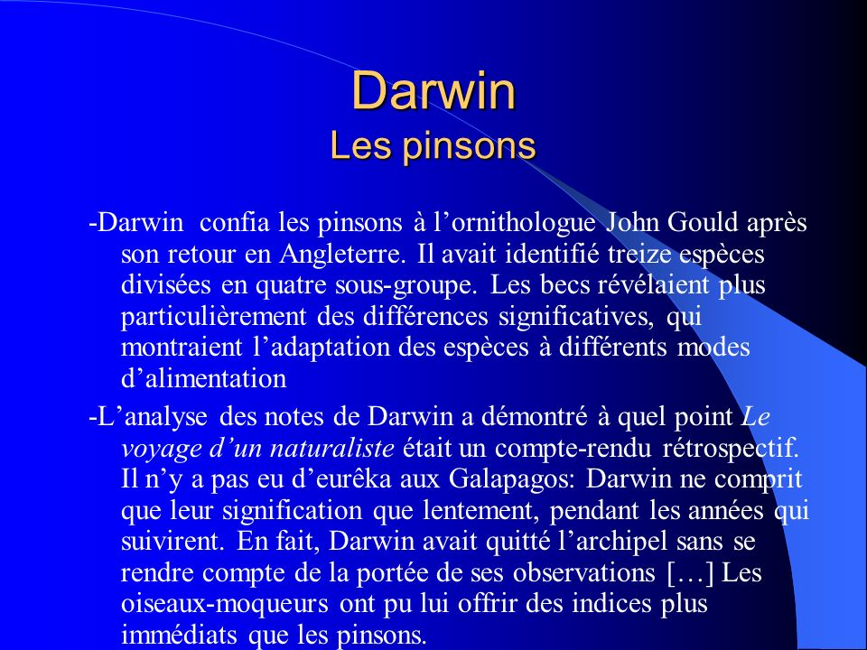 Darwin Les pinsons