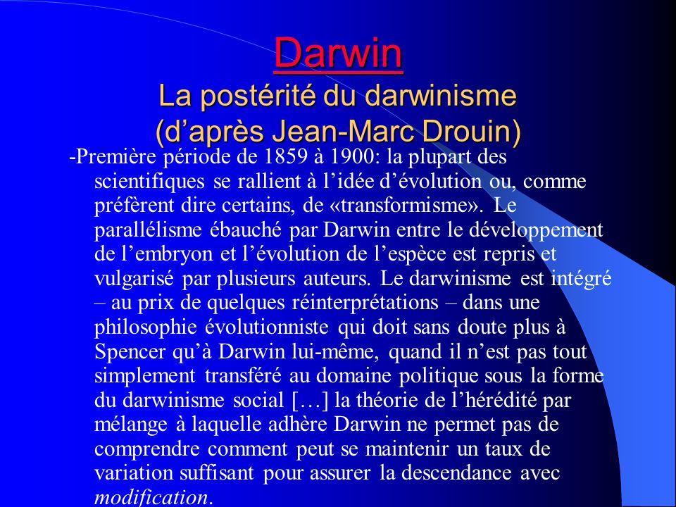 Darwin La postérité du darwinisme (d'après Jean-Marc Drouin)
