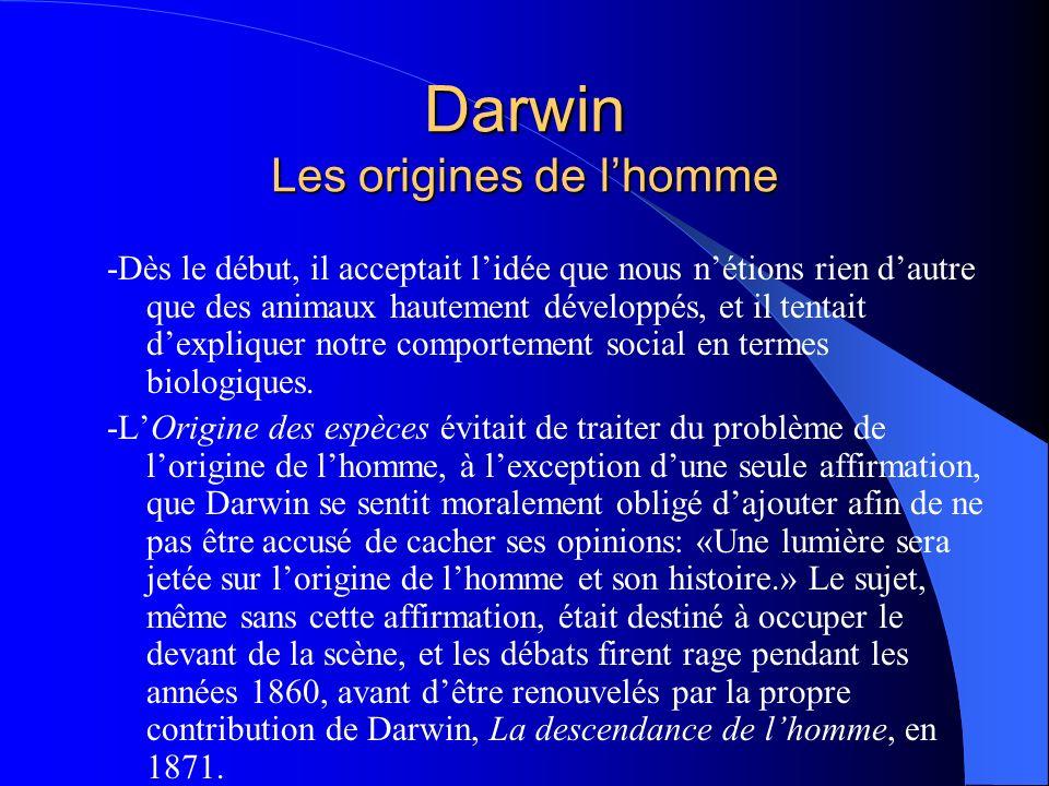 Darwin Les origines de l'homme