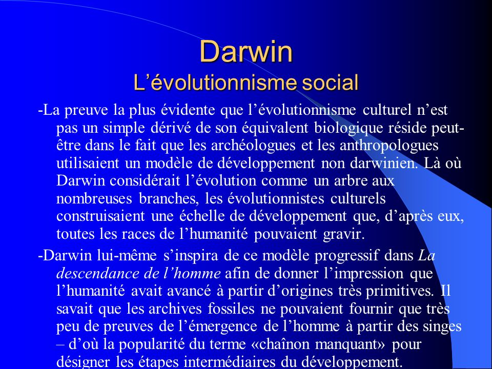 Darwin L'évolutionnisme social