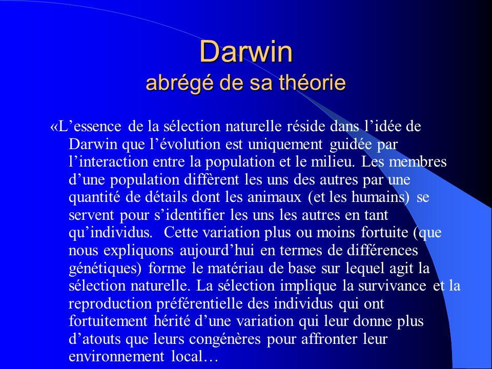 Darwin abrégé de sa théorie