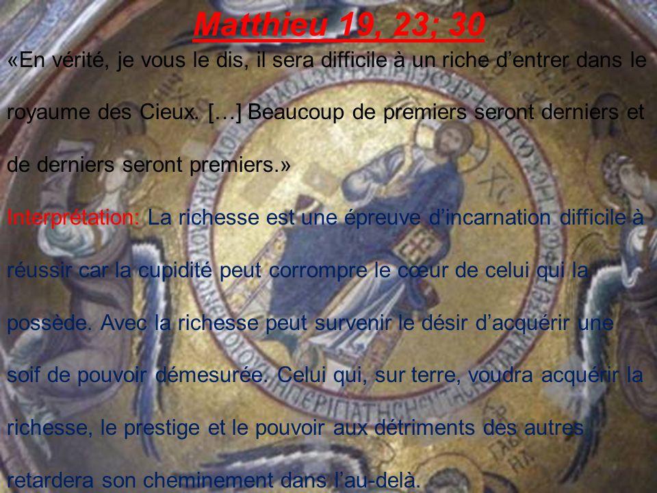 Matthieu 19, 23; 30